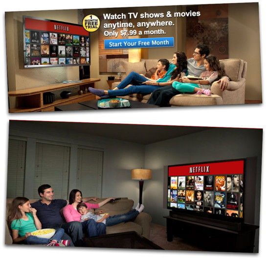 Netflix family depicted as sitting at extreme angles to screen